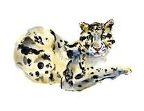 Rokerige luipaard Waterverfhand getrokken illustratie royalty-vrije illustratie