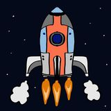 Roket and space background white backgroundcartoon illustration. Roket and space background drawing and white background stock illustration
