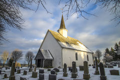 Rokke church in the winter (southwest). Rokke church is a church built in a rectangular form, from 1100 in Halden, Østfold county. The structure is of stone and Royalty Free Stock Photography