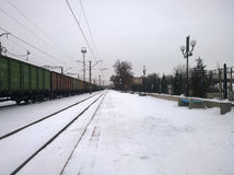 Rokovata railway station in the city of Krivoy Rog in Ukraine. Rokovata railway station in the city of Krivoy Rog in the Ukraine in the winter on a cloudy day royalty free stock photo