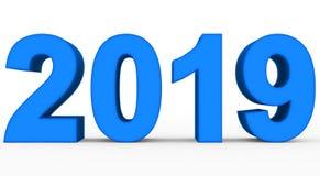Roku 2019 błękitne 3d liczby odizolowywać na bielu royalty ilustracja