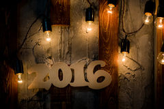 2016 roku drewna liczby bożych narodzeń tło Fotografia Stock