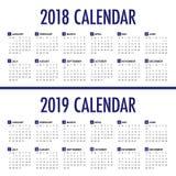 Roku 2018 2019 kalendarzowy wektor ilustracja wektor