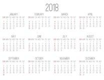Roku 2018 miesięcznika kalendarz Zdjęcie Royalty Free