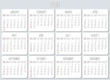 Roku 2016 miesięcznika kalendarz Fotografia Royalty Free