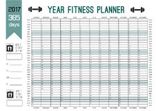 Roku planisty Ścienny szablon Planuje out twój całą sprawność fizyczną z ten kalendarzem Wektorowy projekt dla sporta i diety Fotografia Stock