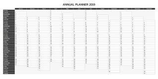 Roku planowania kalendarz dla 2019 w Angielskim - Roczny planista 2019 royalty ilustracja