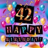 42 roku rocznica, wszystkiego najlepszego z okazji urodzin Zdjęcia Stock