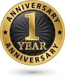 1 roku rocznicowa złocista etykietka, wektorowa ilustracja Obraz Stock