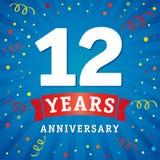 12 roku rocznicowej loga świętowania karty Zdjęcia Royalty Free