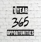 1 roku 365 sposobności, ceduła Obraz Royalty Free