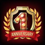 1 roku sztandaru Rocznicowy wektor Jeden Pełnoletni, Pierwszy świętowanie, Olśniewający złoto znak Liczba jeden… wianki byli mogą ilustracji