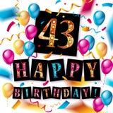 43 roku urodziny świętowania Zdjęcie Stock