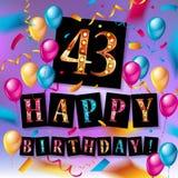43 roku urodziny świętowania Zdjęcia Stock