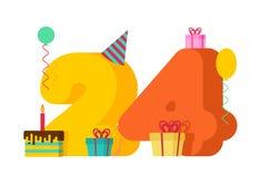 24 roku wszystkiego najlepszego z okazji urodzin kartka z pozdrowieniami 24th rocznicowy celebrati royalty ilustracja