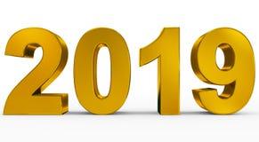 Roku 2019 złote 3d liczby odizolowywać na bielu ilustracja wektor