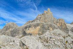 Roky falezy góra, dolomity, Włochy Fotografia Stock