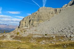 Roky falezy góra, dolomity, Włochy Obrazy Stock