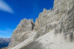Roky falezy góra góruje i ściany w dolomitów Alps Zdjęcie Royalty Free