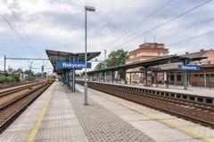 Rokycany railway station in Czech Republic. A shot of a train entering the platform of rokycany railway station at czech republic in Europe Royalty Free Stock Photo