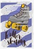 Rol het Schaatsen Afficheontwerp met Klassiek ModelRoller Royalty-vrije Stock Afbeelding