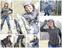 Rol het schaatsen meisjescollage Stock Fotografie