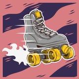 Rol het Schaatsen Ontwerp met Klassiek Modelroller skate Stock Foto's