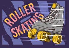 Rol het Schaatsen Ontwerp met Klassiek Modelroller skate Royalty-vrije Stock Fotografie