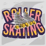 Rol het Schaatsen Ontwerp met Klassiek Modelroller skates Royalty-vrije Stock Afbeeldingen