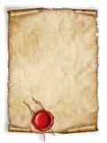 Rol oud document blad met rode wasverbinding Stock Afbeeldingen