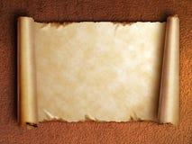 Rol van oud document met gekrulde randen stock afbeelding