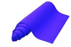 Rolado acima da esteira azul da ioga isolada no fundo branco foto de stock royalty free
