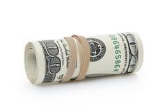 Rolado cem cédulas do dólar amarradas com Imagem de Stock Royalty Free