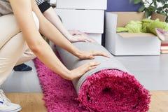 Rolamento cor-de-rosa do tapete Imagens de Stock