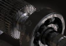Rolamento e roda denteada de prata e pretos em um preto foto de stock