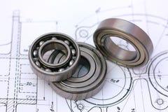 Rolamentos de esferas no desenho técnico Imagem de Stock Royalty Free
