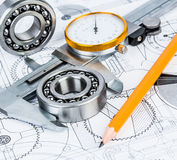 Rolamentos de esferas no desenho técnico Imagens de Stock Royalty Free