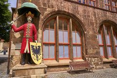 Roland figure in Stadt Nordhausen Rathaus Germany. Roland figure at Stadt Nordhausen Rathaus in Thuringia Germany Stock Photography