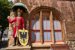 Roland figure in Stadt Nordhausen Rathaus Germany. Roland figure at Stadt Nordhausen Rathaus in Thuringia Germany Royalty Free Stock Photo