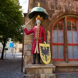 Roland figure Stadt Nordhausen Rathaus in Germany. Roland figure at Stadt Nordhausen Rathaus in Thuringia Germany Stock Images