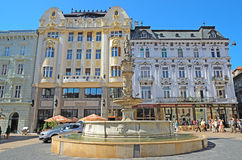 Roland Fountain in Bratislava, Slovakia. Royalty Free Stock Images