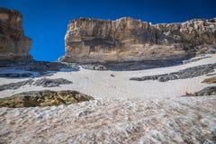 Roland Gap Cirque de Gavarnie i Pyreneesna Arkivbilder