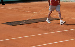 Roland Garros 2010 - sweeping the centre court Royalty Free Stock Image