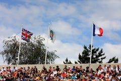 Roland Garros 2011, hof met vlaggen Royalty-vrije Stock Foto's