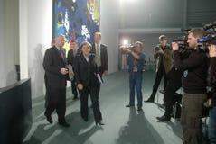 Roland Koch, Chancellor Angela Merkel, Royalty Free Stock Image