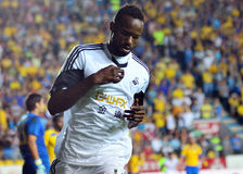 Roland Lamah in Petrolul Ploiesti-Swansea FC. Swanseal's Roland Lamah reacts after scoring a goal during the Europa League play off game between Petrolul Royalty Free Stock Image