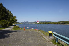 Rolandseck (Remagen, Germany) - Boat ramp into the Rhine with bollard Stock Photo