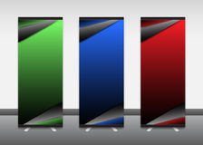 Role acima a bandeira, informação, cor, propaganda, suporte de exposição imagem de stock