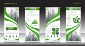 Role acima o projeto do molde do suporte da bandeira, disposição verde da bandeira, anúncios Fotografia de Stock Royalty Free