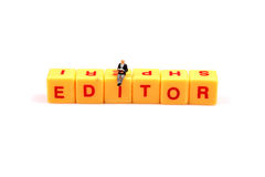 Role of editor. Concept image of editor on white isolated background royalty free stock photos